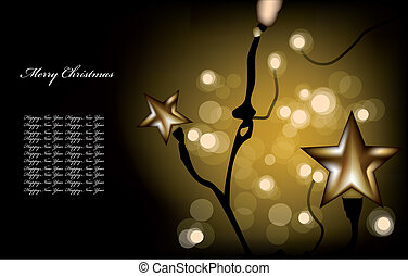 Christmas garland on the gold background. Vector