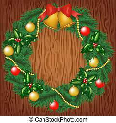 christmas garland on wood background