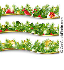 Christmas Garland Set - 3 Christmas Garlands, Vector...