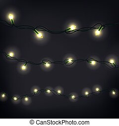 Christmas garland vector clipart. Realistic elements set on dark background