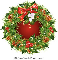 Christmas garland vector frame