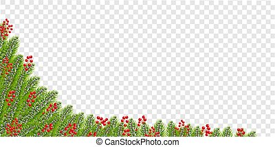 Christmas Garland With Holly Berry Border Transparent background