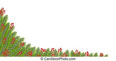 Christmas Garland With Holly Berry Border White background