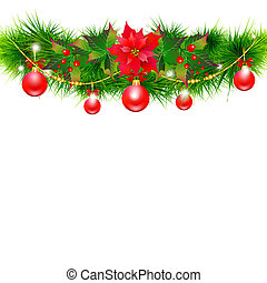 Christmas garland with poinsettia and red  balls ,isolated on a white