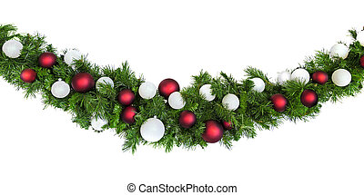 Christmas Garland with Red and Silver Baubles Isolated on White