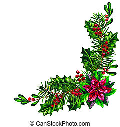 Christmas garland with red Poinsettia plant isolated watercolor