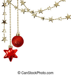 Christmas Ball Garlands.Red Christmas Balls With Stars And Garlands Stock Image
