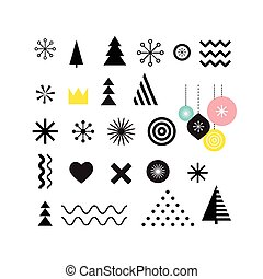 Christmas geometric abstract shapes, art elements, pattern