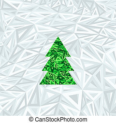 Christmas geometric abstract tree on blue abstract background