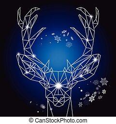 Christmas geometric outline portrait of a deer
