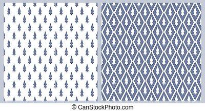 Christmas geometry seamless pattern. Blue Christmas tree stylized. Vector illustration