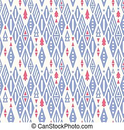 Christmas geometry seamless pattern. Blue pink triangles and Christmas tree stylized. Vector illustration with rhombus , triangles, christmas tree