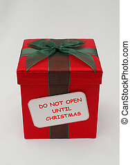 Christmas gift 2 - red Christmas gift with green ribbon and...