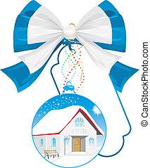 Christmas gift - a house. Vector illustration