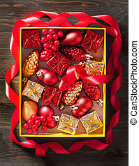 christmas gift and decoration in box