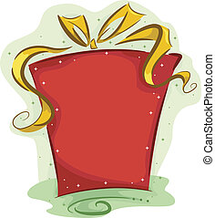 Illustration of a Christmas Gift Wrapped in Red Wrapping Paper and Yellow Ribbon