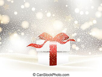 Christmas gift background with glossy red bow nestled in snow