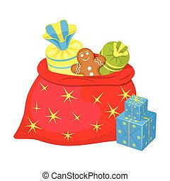 Christmas Gift Bag single icon in cartoon style for design. Christmas vector symbol stock illustration web.