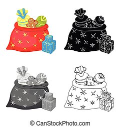 Christmas Gift Bag single icon in cartoon,black,flat,monochrome style for design. Christmas vector symbol stock illustration web.