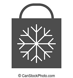 Christmas gift bag with snowflake solid icon. Shopping bag vector illustration isolated on white. Xmas gift glyph style design, designed for web and app. Eps 10.