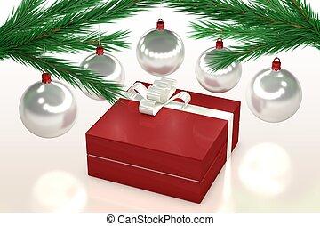Christmas gift, balls and fir branch