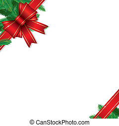 Christmas ribbons with pine branches isolated on white background, vector illustration
