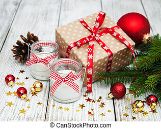 Christmas gift box and decorations