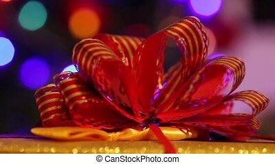 Christmas gift box closeup