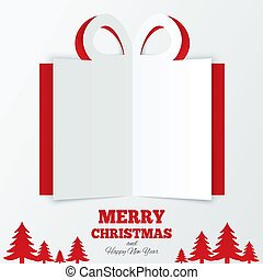 Christmas gift box cut the paper. Christmas tree. - ...