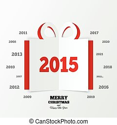 Christmas gift box cut the paper. New year 2015.