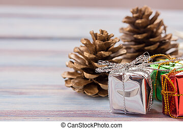 Christmas gift box decoration on old grunge wooden table ...