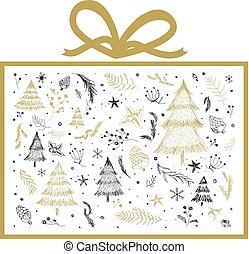 Christmas gift box design on white background vector illustration
