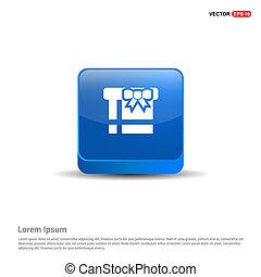 Christmas Gift Box Icon - 3d Blue Button