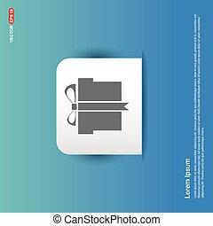 Christmas Gift Box Icon - Blue Sticker button