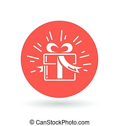 Christmas gift box icon. Present sign. Birthday gift symbol. Vector illustration.