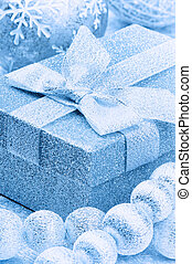 Christmas gift box in blue tone
