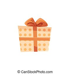 Christmas gift box in dotted wrapping paper with a bow