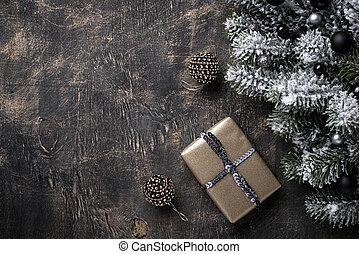 Christmas gift box on dark background