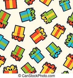 Christmas gift box patch icon pattern background