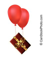 christmas gift box with bow and balloons helium