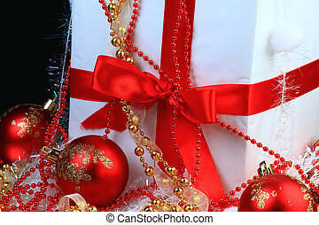 Christmas gift box with christmas b
