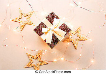 Christmas gift box with festive lights