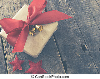 Christmas gift box with red bow