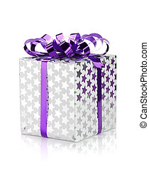 Christmas gift box with ribbon