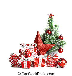 Christmas gift boxes and decorations on white background