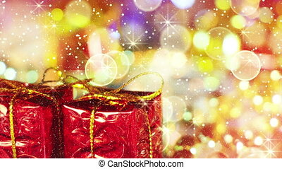 christmas gift boxes and golden light loopable background
