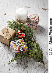 Christmas gift boxes background