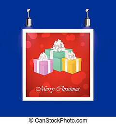 Christmas Gift boxes greeting card cover poster
