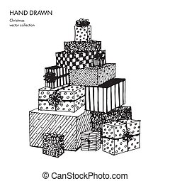 Christmas gift boxes laid out in the shape of a Christmas tree. Different package. Hand drawn vector conceptual black and white graphic sketch