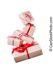 Christmas gift boxes levitation